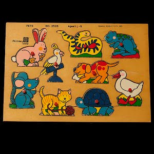 Vintage Wood Pets Puzzle Discovery World