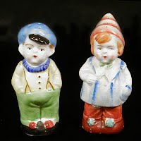 Vintage Boy and Girl Salt and Pepper Shaker, hand painted porcelain