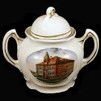 Antique Porcelain Sugar Bowl, Ladysmith, Wisconsin High School