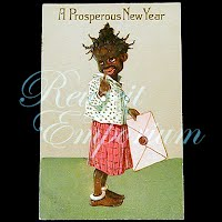 Antique Postcard, Black Child, A Prosperous New Year, 1908