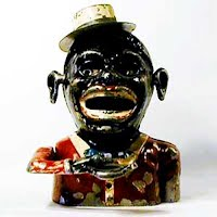 Antique bank, cast iron, Jolly Nigger with Hat Mechanical Bank