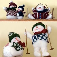 Vintage Stuffed Felt Snowmen Figures
