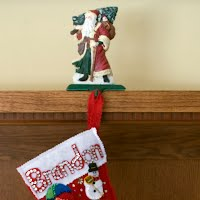 Vintage Cast Iron Santa Christmas Stocking Holder, 1990