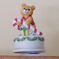 Vintage Christmas, Teddy Bear Music Box, Candy Cane, 1987