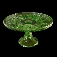 Antique, EAPG, Pressed Glass, Pattern Glass, Early American Pattern Glass, Green Feather cake stand, Green Doric Cake Stand