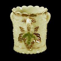 Antique, EAPG, Pressed Glass, Pattern Glass, Early American Pattern Glass, Custard Maple Leaf Spooner