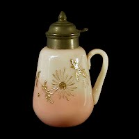 Antique, EAPG, Pressed Glass, Pattern Glass, Early American Pattern Glass, Peach Blow Syrup Pitcher