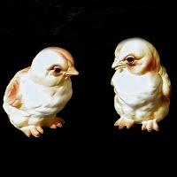 Vintage Lefton Chicks, 1950's red label Japan
