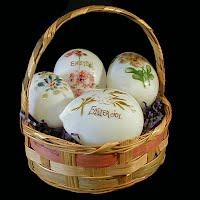 Antique Milk Glass Eggs in basket