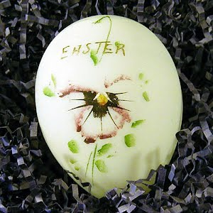 Antique Milk Glass Easter Egg hand painted