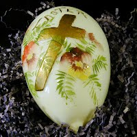 Antique Hand painted Milk Glass Easter Egg, 1910-