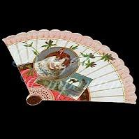 Antique Ephemera fan with cat