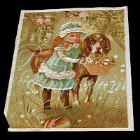 Antique Ephemera Paper Girl with Dog Card