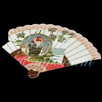 Antique Ephemera, fan with child and flowers