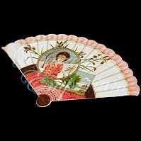 Antique Ephemera fan with scenery