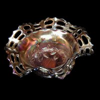 Antique Carnival Glass, Basketweave Bowl, amethyst with blackberry interior, 1912 Fenton Glass Co