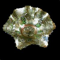 Antique Carnival Glass, Vintage Emerald Green Bowl, 1910 Fenton Glass Co