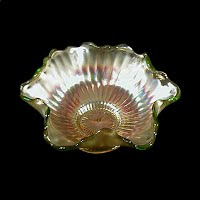 Antique Carnival Glass, Green Smooth Rays Bowl, Westmoreland Glass Co