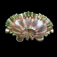 Antique Carnival Glass, Peacock Tail Candy Ribbon Green Bowl, 1910 Fenton Glass Co