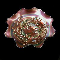 Antique Carnival Glass, Acorn Oak Leaf Red Bowl, 1915-1925 Fenton Glass Co