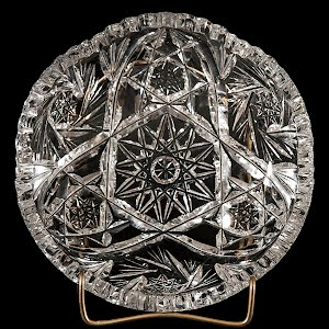 Antique Vintage Cut Glass Round Plate
