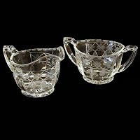 Antique Depression Glass, Clear Etched Glass Cream and Sugar