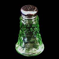 Antique Depression Glass, Green Cubist Salt Shaker