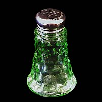 Antique Depression Glass, Green Cubist Salt Shaker
