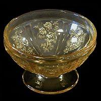 Antique Depression Glass, Sharon Cabbage Rose Sherbet Dish