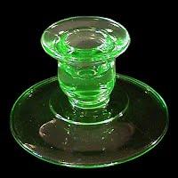 Antique Depression glass Green Candlestick Holder