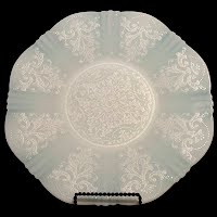 Antique Depression Glass American Sweetheart White Monax Cake Plate