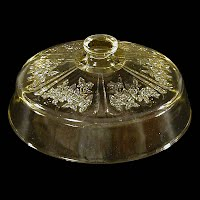 Antique Depression Glass, Amber Sharon Cabbage Rose Butter Dish Lid, Federal Glass Co 1929