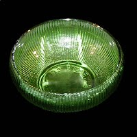 Vintage Dark Green Ribbed Depression Glass Bowl, E O Brody Co Cleveland