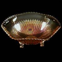 Antique Iridescent Marigold Scalloped Bowl, 1930's