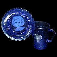Antique Cobalt Blue Shirley Temple Bowl and Milk Pitcher