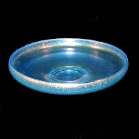 Vintage Blue Stretched Glass Footed Salver, 1925
