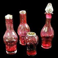 Vintage Cranberry Glass Castor Bottles, 1950's