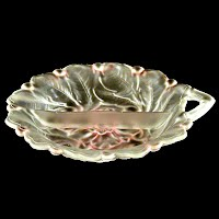 Vintage Clear and Pink Frosted Divided Pickle Dish