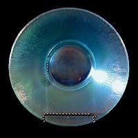 antique Stretch Glass Blue Bowl, 1925 Fenton