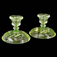 Vintage Vaseline Candlestick Holdersetched with leaves and flowers, 1935's