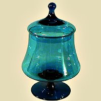 Aquamarine Mid-century Modern Candy Jar, made by Morgantown Glass Co. 1955-1965