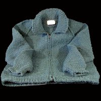 Vintage Hand knit small Sweater with zipper in front