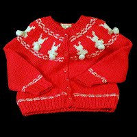 Vintage Hand Knit Child's Bunny Sweater