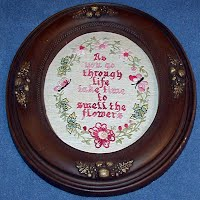 Vintage Framed Needlework, Take Tme to Smell the Flowers