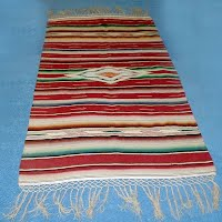 Antique Mexican Handwoven Wool Table Runner, 18.5 inches by 39 inches