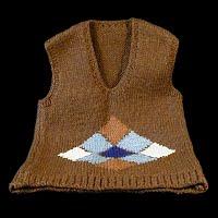 Vintage Hand Knit Brown Sweater Vest