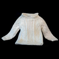 Vintage Child's Sweater, Cable Knit, Ecru Sweater, Hand made, hand knit