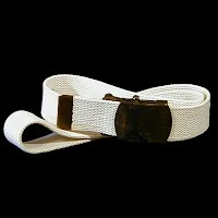 Vintage Antique Navy white cloth belt with metal buckle
