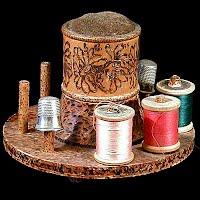 Spool & pincushion holder, wood burned