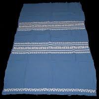 Vintage Blue Cotton Cloth Woven Cat Design, 1950's